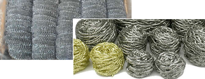 Stainless Steel Scourer Pads Made of Knitted Mesh and Spiral Wire